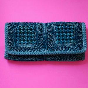 Vintage Blue Straw Clutch